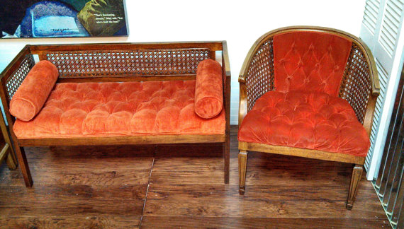 Retro Mid Century Cane and Orange Tufted Velvet Chair and Matching Bench with 2 cylinder pillows