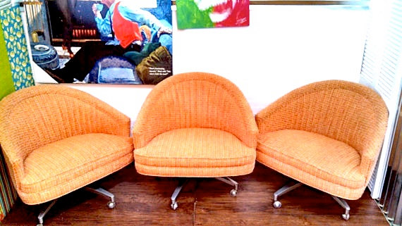 Vintage Retro Swag Orange Swivel Roller Chairs Set of 4