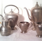 Vintage Crescent Pewter Tea and Coffee Set. Vintage Pewter Serving Set