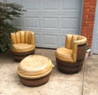 SOLD! Vintage Rustic Wine/Whiskey Barrel Chairs & Ottoman