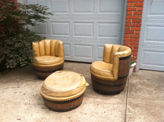 Sold Vintage Rustic Wine Whiskey Barrel Chairs Amp Ottoman